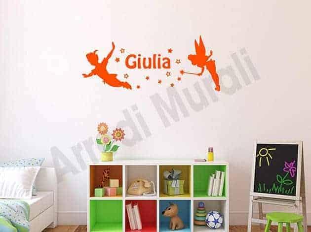 Adesivi murali nome personalizzato Peter Pan