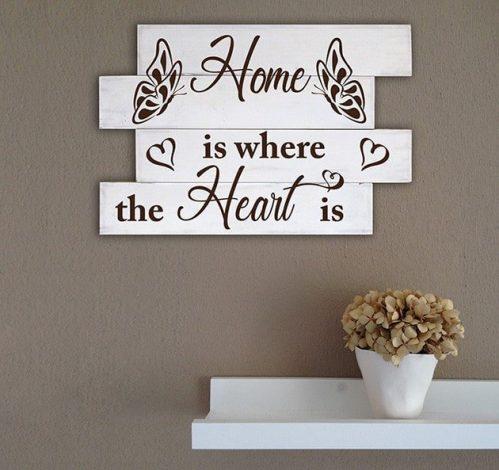 Shabby chic frase casa pannelli decorativi in legno