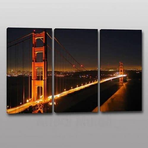 Tris quadri moderni stampa su tela panorama citta 3 tele