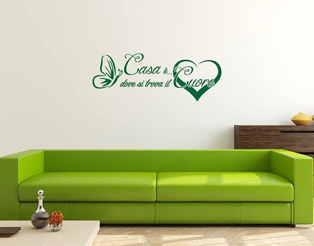 wall stickers frase arredo casa cuore