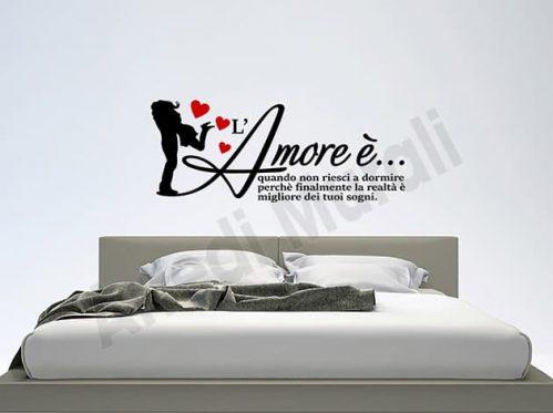 Adesivi murali frase amore decorazioni letto