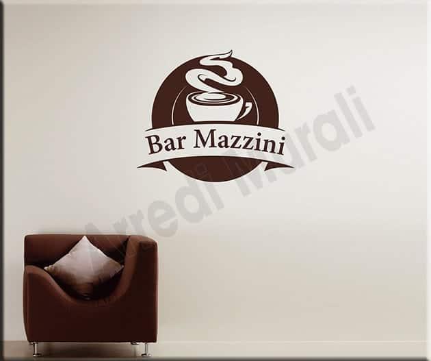 Adesivi murali personalizzati nome bar arredo