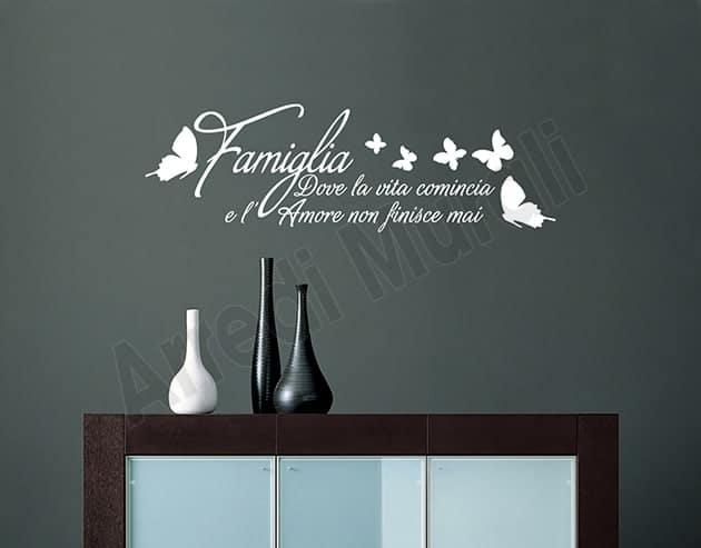 adesivi da parete frase famiglia decorazioni arredo