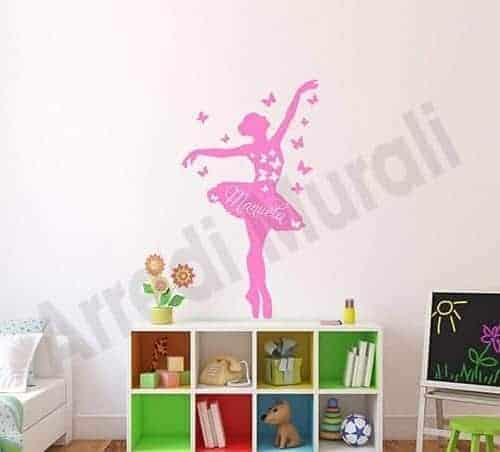 adesivi da parete personalizzati nome ballerina