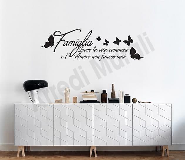 adesivi murali frase famiglia decorazioni arredo