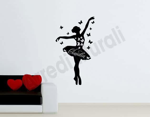 adesivi murali personalizzati nome ballerina