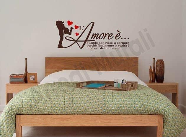decorazioni da parete frase amore adesivi arredo letto