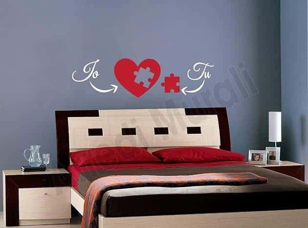 decorazioni da parete love noi arredo letto