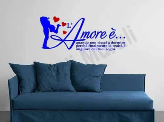 wall stickers frase amore decorazioni arredo letto