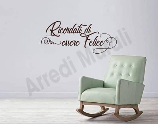 wall stickers frase felice arredo casa