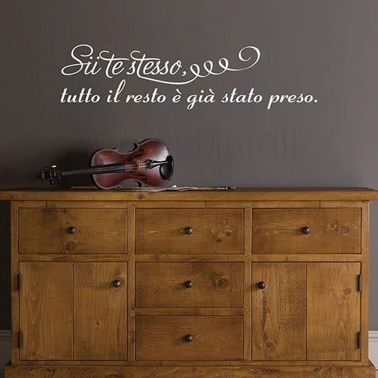 Adesivi da muro frase citazione Oscar Wilde bianco