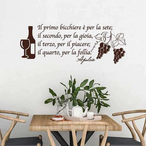 Adesivi da parete frase vino decorazioni da muro