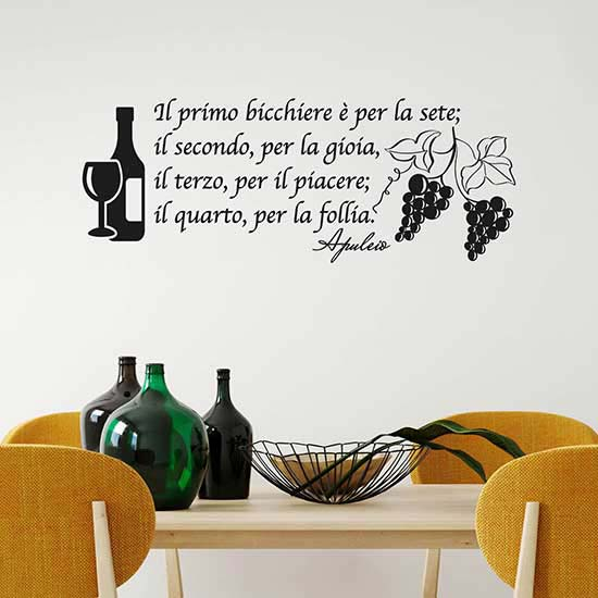 Adesivi da parete frase vino decorazioni