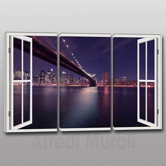 Quadri moderni stampa su tela finestra città di sera illuminata
