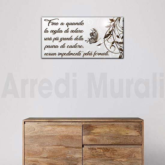 Quadro moderno con frase su tela per arredo pareti