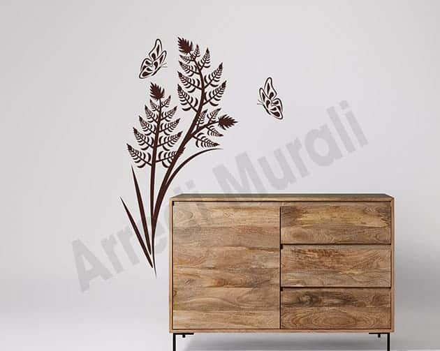 Adesivi da parete felce farfalle arredo design