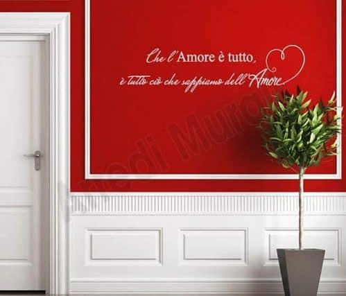 adesivi da parete frase amore arredo casa