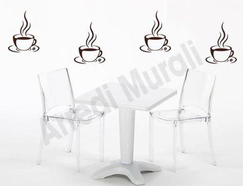 adesivi da parete tazzine di caffè bar decorazioni arredo