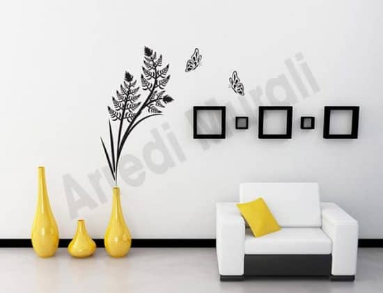 adesivi murali felce farfalle arredo design