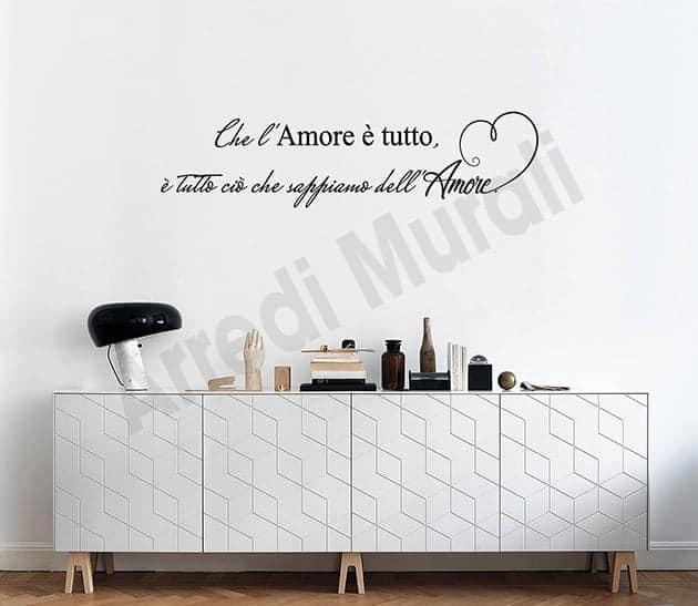 adesivi murali frase amore arredo casa