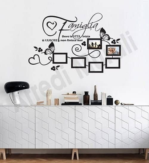 adesivi murali frase famiglia cornici foto