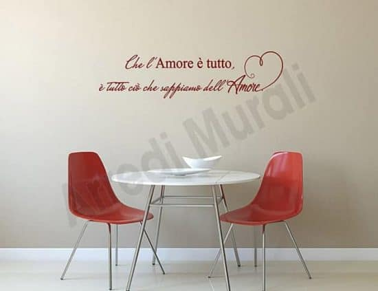 decorazioni adesive da parete frase amore arredo casa