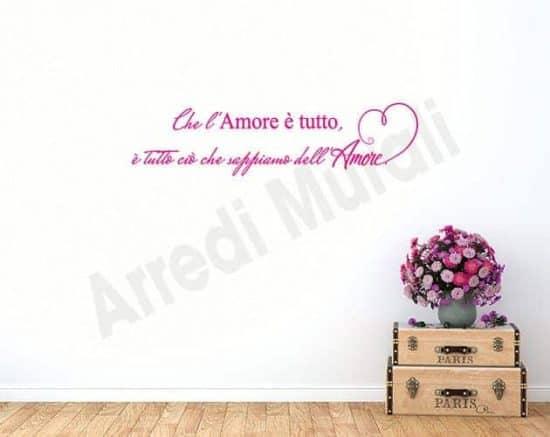 wall stickers frase amore arredo casa