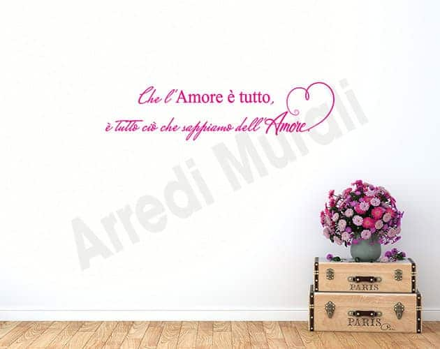 wall stickers frase amore arredo casa