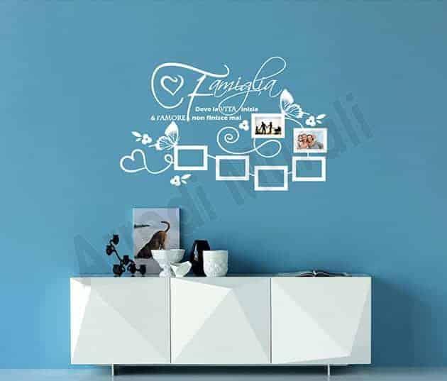 wall stickers frase famiglia cornici foto