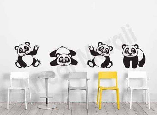 Adesivi murali camerette bambini simpatici panda
