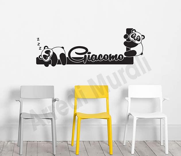 Adesivi murali personalizzati nome bambini panda