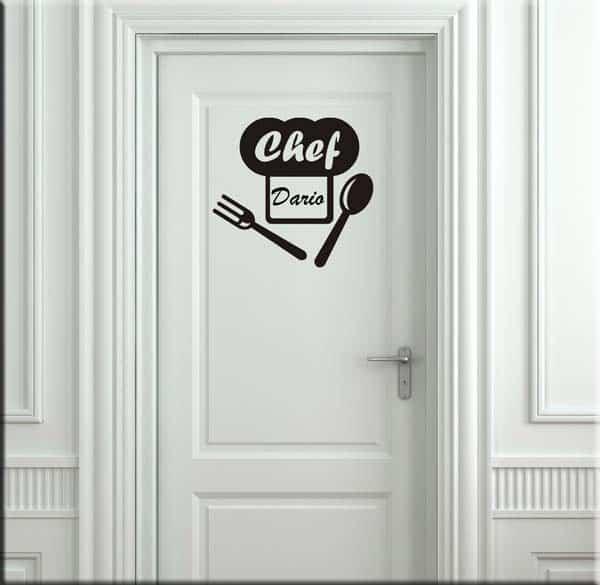 Adesivo da parete personalizzato nome chef cucina