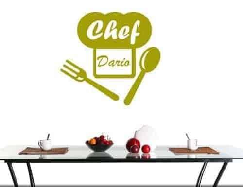 Adesivo murale personalizzato nome chef cucina