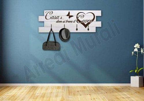Shabby chic pannelli frase casa appendiabiti in legno