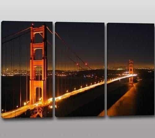 Tris quadri moderni stampa su tela panorama città