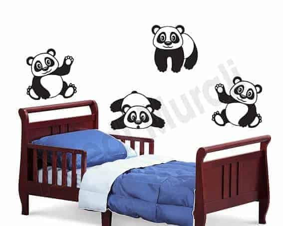 Adesivi Da Parete Per Bambini.Adesivi Murali Camerette Bambini Simpatici Panda Ws1460