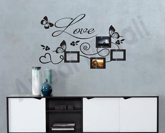 adesivi murali cornici foto love decorazioni