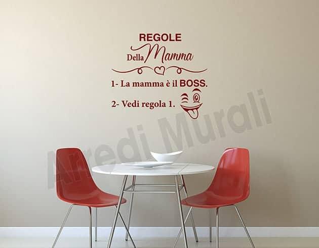adesivi murali regole della mamma decorazione da parete