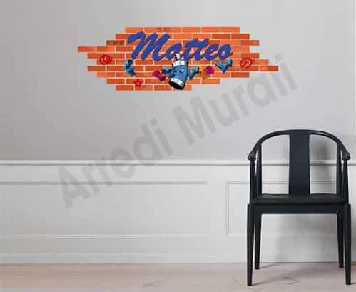 Adesivo da parete personalizzato graffito murales nome