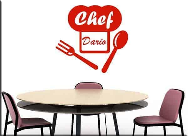decorazione murale personalizzata nome chef cucina