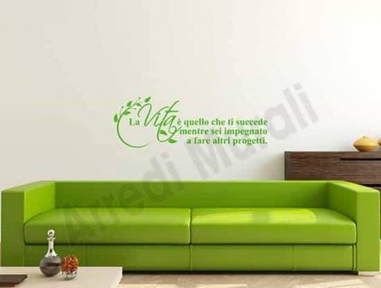 decorazioni adesive da parete frase vita arredo