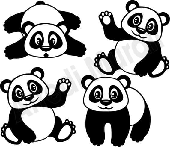 wall stickers camerette bambini simpatici panda