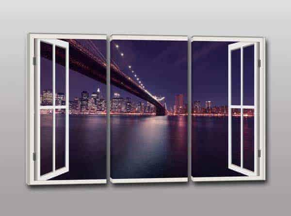 Quadri moderni stampa su tela finestra città di sera