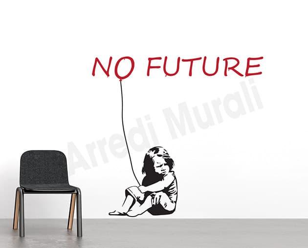adesivi da parete graffito arte Banksy no future