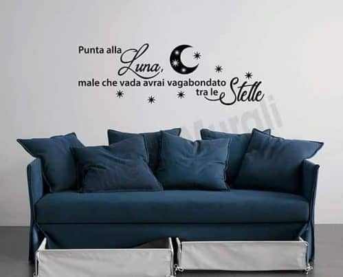 adesivi murali frase luna stelle decorazioni da parete