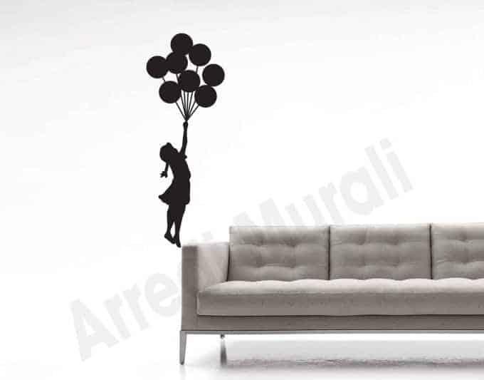 Adesivo da parete bambina Banksy palloncini