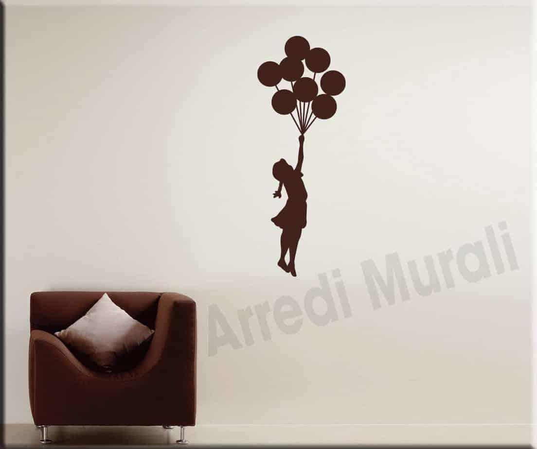 adesivo murale Bambina Banksy palloncini
