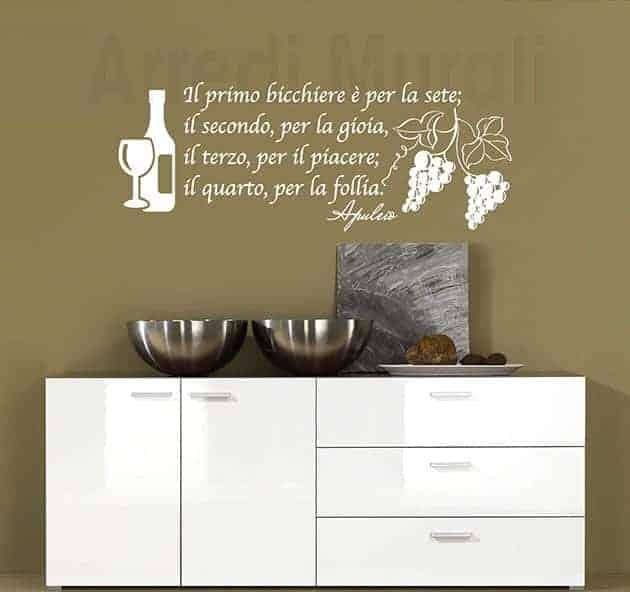 wall stickers frase vino decorazioni da parete osteria