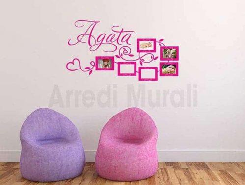 adesivi da parete personalizzati cornici foto nome