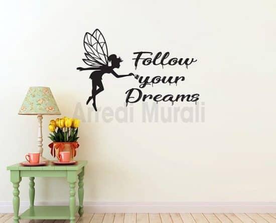 adesivi murali follow your dreams scritte adesive